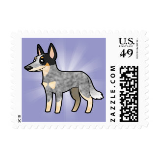Cartoon Australian Cattle Dog / Kelpie Stamp