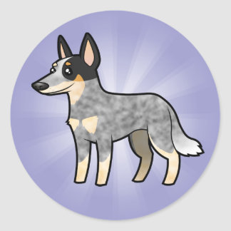 Cartoon Australian Cattle Dog / Kelpie Classic Round Sticker