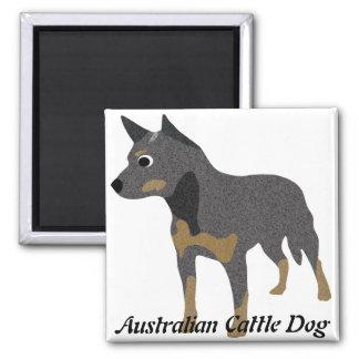 Cartoon Australian Cattle Dog 2 Inch Square Magnet