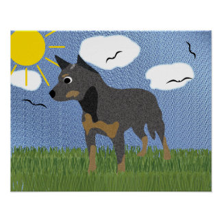 Cartoon Australian Cattle Dog Poster