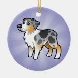 Cartoon Australian Shepherd (add your own message) Ceramic Ornament