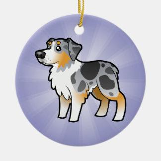 Cartoon Australian Shepherd (add your own message) Christmas Tree Ornaments
