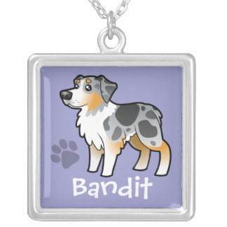 Cartoon Australian Shepherd (add your pets name) Square Pendant Necklace