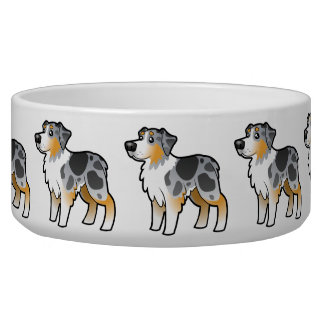 Cartoon Australian Shepherd Bowl