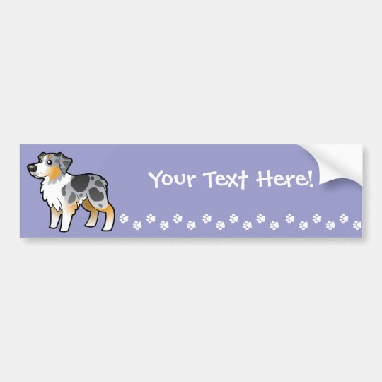 Cartoon Australian Shepherd Bumper Sticker