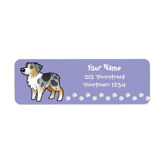 Cartoon Australian Shepherd Label