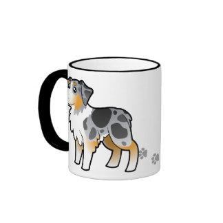 Cartoon Australian Shepherd Ringer Coffee Mug