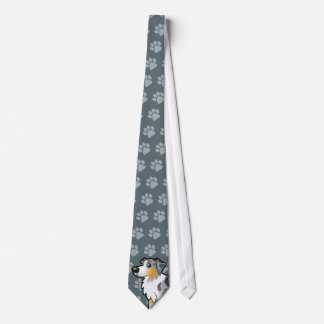 Cartoon Australian Shepherd Neck Tie