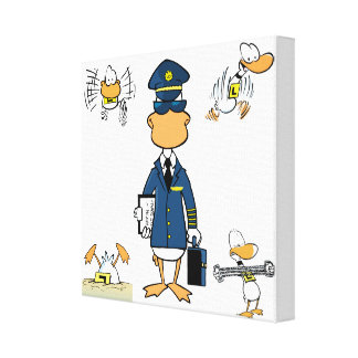 Cartoon Aviation Art Wrapped Canvas Canvas Prints