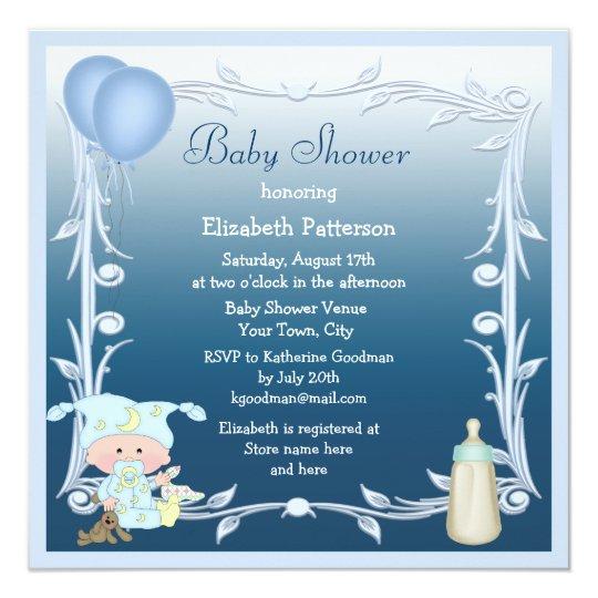 Cartoon Baby, Bottle & Balloons Blue Baby Shower Card