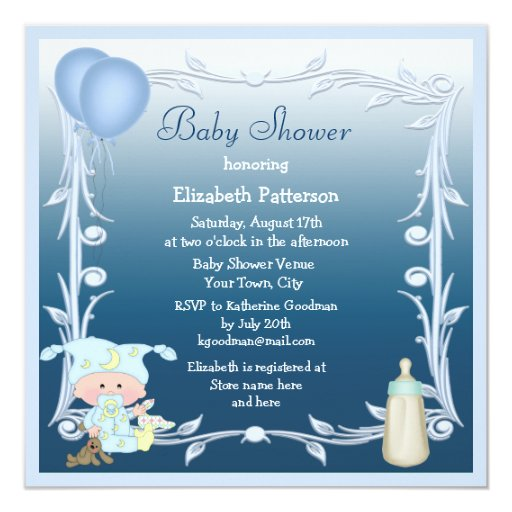 Cartoon Baby, Bottle & Balloons Blue Baby Shower 5.25x5.25 Square Paper Invitation Card