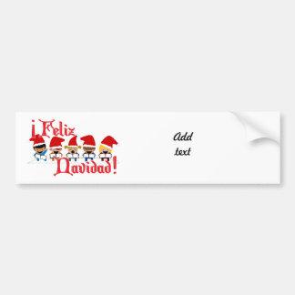 Cartoon Baby Carolers - Feliz Navidad Car Bumper Sticker