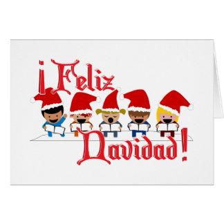 Cartoon Baby Carolers - Feliz Navidad Card