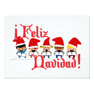 "Cartoon Baby Carolers - Feliz Navidad 5.5"" X 7.5"" Invitation Card"