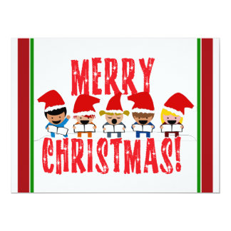 Cartoon Baby Carolers - Merry Christmas 6.5x8.75 Paper Invitation Card