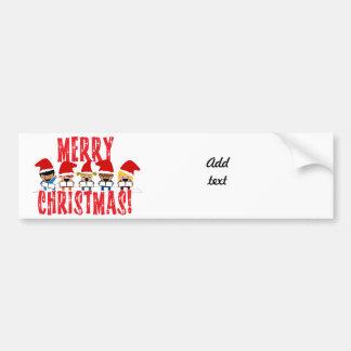 Cartoon Baby Carolers - Merry Christmas Car Bumper Sticker