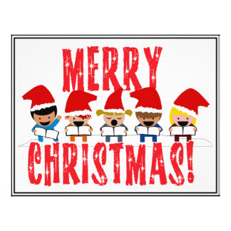 Cartoon Baby Carolers - Merry Christmas Personalized Flyer