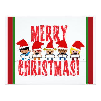 "Cartoon Baby Carolers - Merry Christmas 6.5"" X 8.75"" Invitation Card"