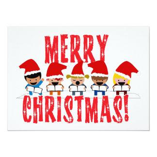 "Cartoon Baby Carolers - Merry Christmas 5.5"" X 7.5"" Invitation Card"
