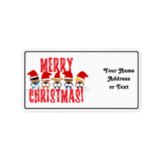 Cartoon Baby Carolers - Merry Christmas Custom Address Labels