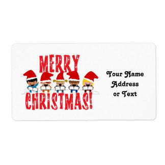 Cartoon Baby Carolers - Merry Christmas Shipping Label