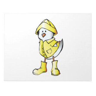 Cartoon Baby Chick Wearing a Raincoat Memo Pads