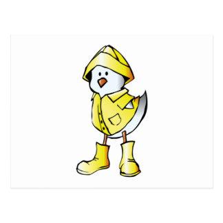 Cartoon Baby Chick Wearing a Raincoat Postcard