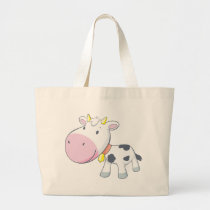Cartoon Baby Cow Large Tote Bag