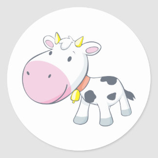 Cartoon Baby Cow Round Stickers