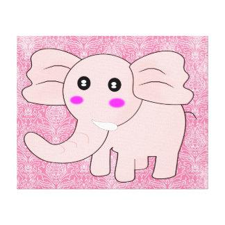 Cartoon Baby Elephant On Pink on Damask Canvas Prints