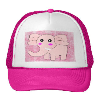 Cartoon Baby Elephant On Pink on Damask Trucker Hat
