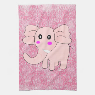 Cartoon Baby Elephant On Pink on Damask Hand Towels