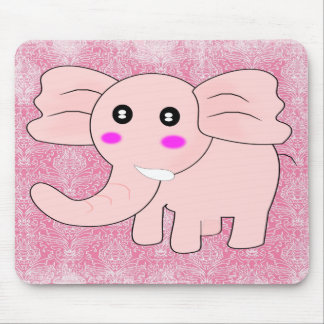 Cartoon Baby Elephant On Pink on Damask Mouse Pad