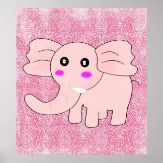 Cartoon Baby Elephant On Pink on Damask Print