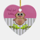 Cartoon Baby Owl ornament with text