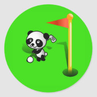 Cartoon Baby Panda Bear Golfing on the Green Classic Round Sticker