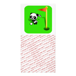 Cartoon Baby Panda Bear Golfing on the Green Photo Greeting Card