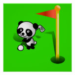 Cartoon Baby Panda Bear Golfing on the Green Poster