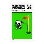 Cartoon Baby Panda Bear Golfing Stamp