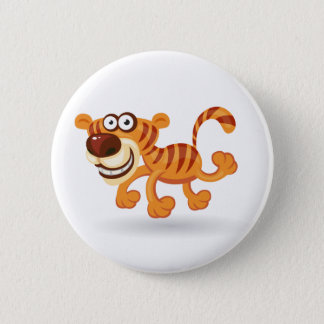 Cartoon baby tiger pinback button