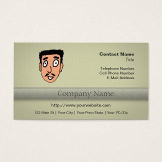 Cartoon Bad Pick up Line Slimy Moustache Guy Business Card