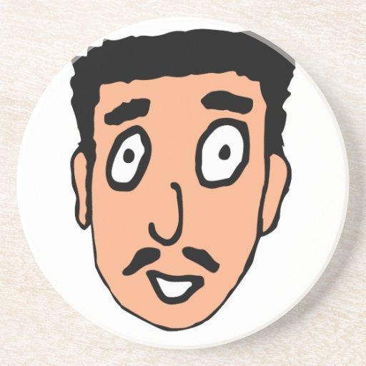 Cartoon Bad Pick up Line Slimy Moustache Guy Drink Coaster