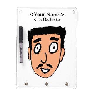 Cartoon Bad Pick up Line Slimy Moustache Guy Dry-Erase Board