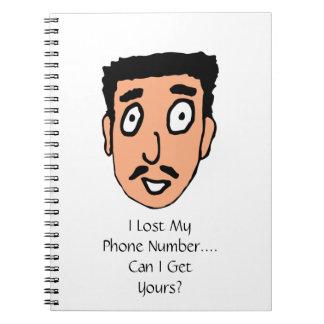 Cartoon Bad Pick up Line Slimy Moustache Guy Spiral Notebook