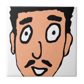 Cartoon Bad Pick up Line Slimy Moustache Guy Tile