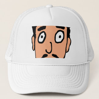 Cartoon Bad Pick up Line Slimy Moustache Guy Trucker Hat