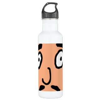 Cartoon Bad Pick up Line Slimy Moustache Guy Water Bottle