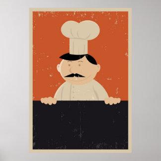Cartoon Baker Or Cook Menu Poster