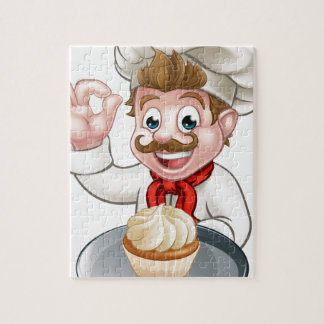Cartoon Baker or Pastry Chef Jigsaw Puzzle