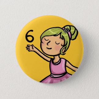 Cartoon Ballet Dancer Birthday Pinback Button